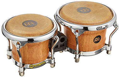 Meinl Percussion Mini Wood Bongos Skin Heads-NOT MADE IN CHINA-Super Natural Finish and Free Ride Suspension System, 2-YEAR WARRANTY, (FWB100SNT-M)