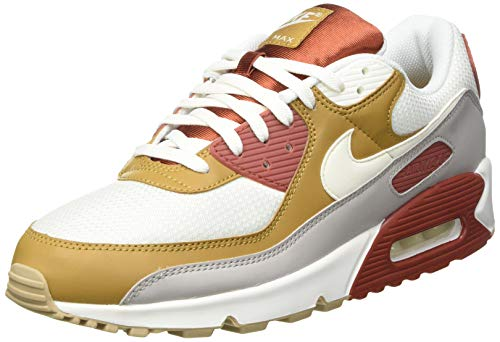 Nike Herren AIR MAX 90 Laufschuh, Rugged Orange Sail Wheat Gum Lt Brown College Grey Sail, 46 EU