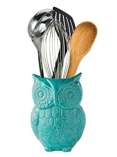 Comfify Eulen Utensilienhalter - Dekorativer Keramik Kochgeschirrhalter & Organizer - in schönem Blau - Utensilien Caddy und perfektes Küchenkeramikdekor Geschenk - 12.7cm x 17.8cm x 10.2cm Größe