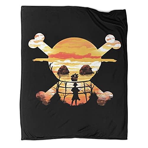 DRAGON VINES Coperta di animazione del film Cappello di paglia Crew Morbida e comoda coperta leggera in pile adatta per viaggi e casa beach130 x 180 cm, coperta indossabile per adulti