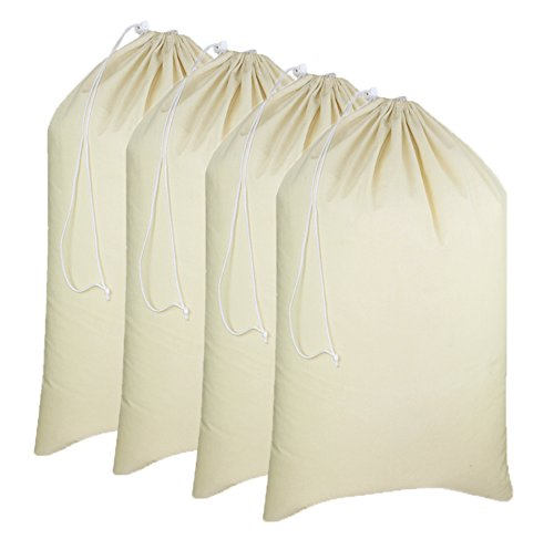 "COTTON CRAFT - 4 Pack Extra Large Cotton Canvas Heavy Duty Laundry Bags - Natural Cotton - 28""x36"" - Versatile - Multi Use - Santa Sack"