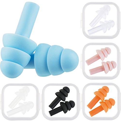 Bememo 6 Paar Ohrstöpsel Lärm Abbrechen Wiederverwendbar Ohrstöpsel zum Schlafen und Schwimmen (Mehrfarbig A)