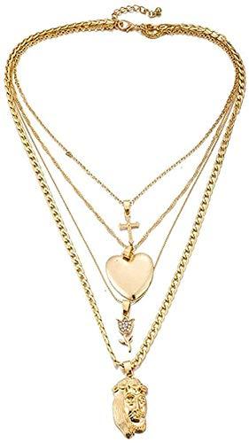 MGBDXG Co.,Ltd Collar B, Gargantilla Cruzada Multicapa, Collar de Color Dorado con Forma de corazón, Figura con Colgante de Flor Rosa, Collar para Mujer, Regalo de joyería