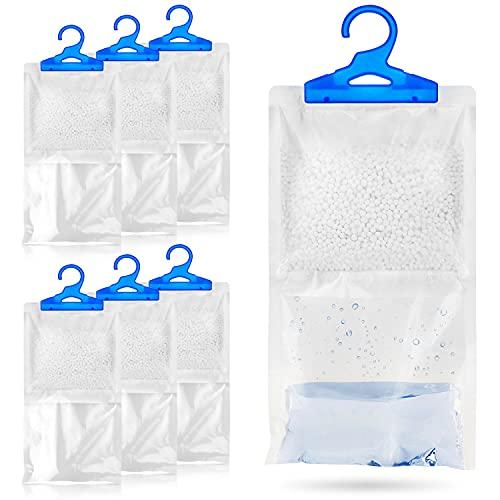 Juego de 6 bolsas de deshumidificador para colgar en armario, 250 g cada una, para evitar la humedad, moho y condensación. Para uso en armario, hogar, cocina, garaje, dormitorio, caravana, oficina