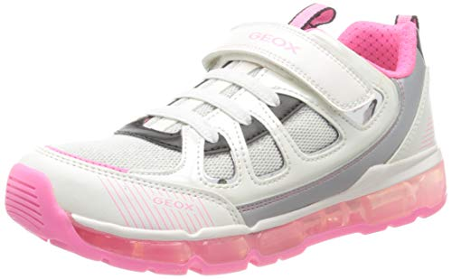 Geox J Android Girl C, Zapatillas para Niñas, Blanco (White/Fuchsia C0563), 38 EU