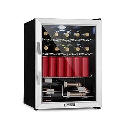 Klarstein Beersafe XL Mix It Edition - Refrigerator, Mini Fridge, Mini Bar, 0 to 13 ° C, 60 L, LED, 4 Metal Grills, Glass Door, Silver-Black by Klarstein