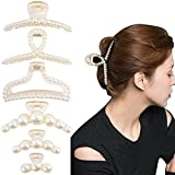 6 Pack Pearl Hair Claw Clips for Women Large Hair Clips for Thick Hair Champagne Styling Hair Barrettes Hair Accessories Gift Choice