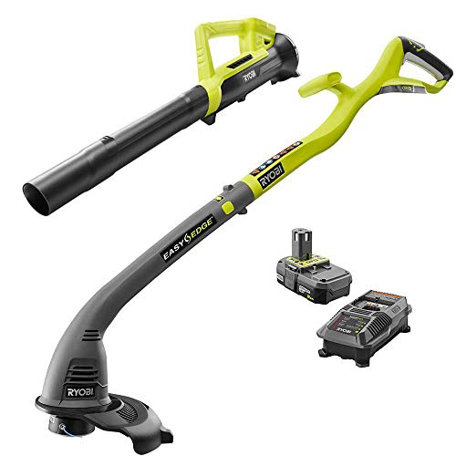 Save %5 Now! Ryobi One ONE+ 18-Volt Lithium-Ion String Trimmer/Edger and Blower Combo Kit 2.0 Ah Bat...
