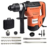 Goplus SDS Rotary Hammer, 1-1/2 inch 10 Amp Electric Rotary Hammer Drill with Vibration Control, 3 Drill Functions, Plus Demolition Bits, Includes 3 Drill Bits,Point and Flat Chisel with Case (Orange)
