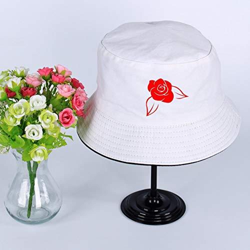 JIACHIHH Sombrero De Pescador Algodón,Impresión De Imágenes De Rosas Rojas Cuchara Sombrero Blanco De Verano Unisex Visera Exterior Hat Pescador Pesca Hat