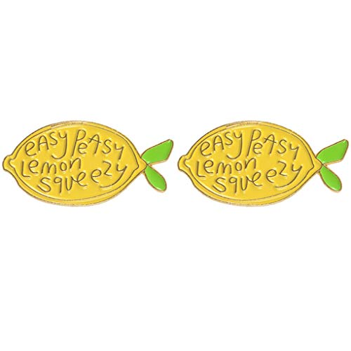 CoSunny Easy Peasy Lemon Squeezy Lapel Pin 2 Piece Set Yellow Lemon Enamel Brooch Pin Badges Gifts
