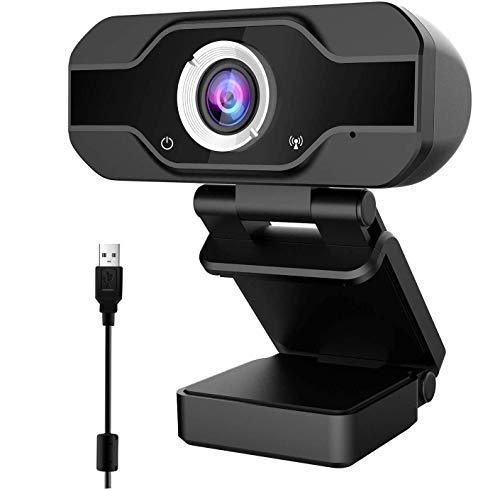 1080P PC Webcam with Microphone, Webcam for Laptop or Desktop Webcam, USB Computer Camera, Gaming Conferencing, HD Video Webcam 90-Degree Widescreen Web Camera Black