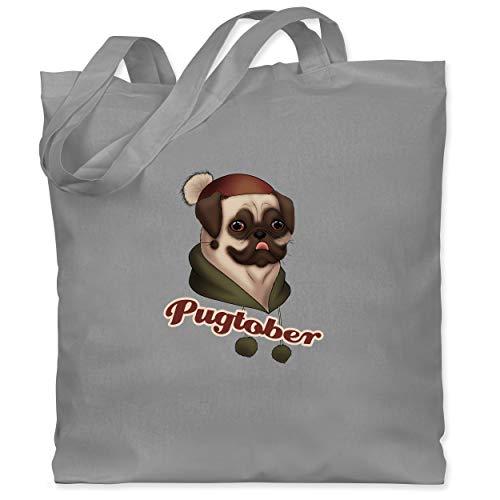 Shirtracer Hunde - Pugtober Mops - Unisize - Hellgrau - mops adventskalender - WM101 - Stoffbeutel aus Baumwolle Jutebeutel lange Henkel