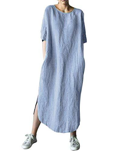 AUDATE Damen Leinen Baumwolle Lang Kleid Beiläufige Langarm Lose Maxikleider Kaftan, Hellblau, DE 40 (Herstellergröße: L)
