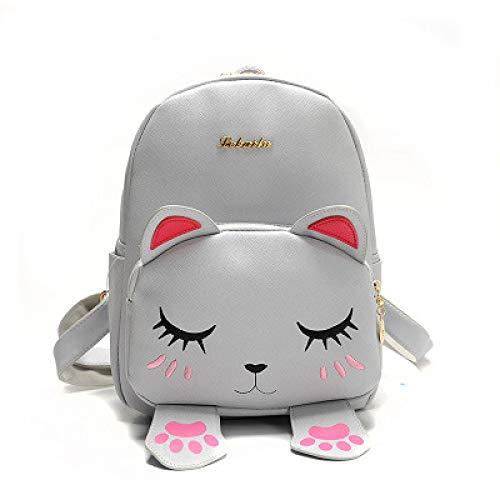 VICTOEFashion, zaino da donna in pelle sintetica di poliuretano, borsa da viaggio con orecchie di gatto, Grey (Grigio) - VICTOE-5429