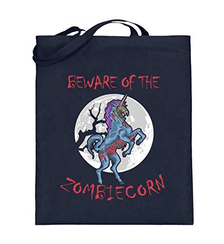 Generisch Bolsa de yute Zombiecorn Zombie Unicornio | Beware of the Zombiecorn Bolsa de algodn, color Azul, talla 38cm-42cm