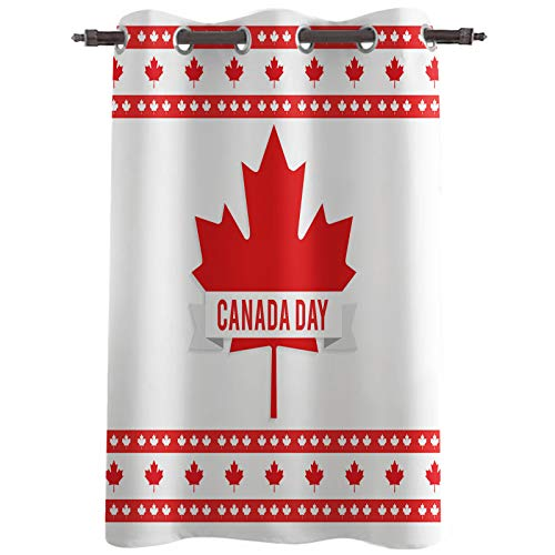 """Blackout Curtain Panel, Canada National Day Red Maple Leaves Grommet Thermal Insulated Room Darkening Window Drapes for Bedroom Living Room, Set of 1 Panels, 52""""x63"""""""