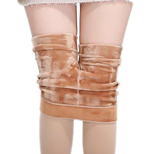 JIAHSA Frauen Winter Warm Spandex Gefüttert Elastische Leggings High Waisted, Hautfarbe, All Code