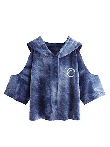 SweatyRocks Damen Cold Shoulder Tie Dye Pullover Hoodie Crop Top Sweatshirt Blau S