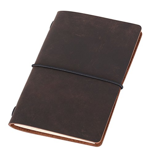 Pocket Travelers Notebook, Refillable Leather Travel Journal for Men & Women, Notebook Cover for Field Notes, Moleskine Small 3.5 x 5.5 Inches, Dark Brown