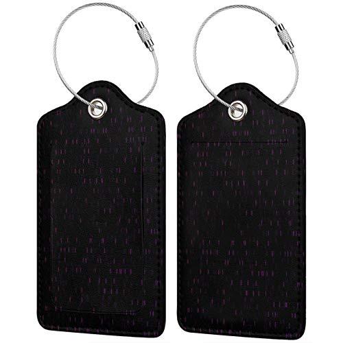 FULIYA - Etiquetas de cuero de gama alta para maletas - Juego de etiquetas de identificación de viaje para bolsos y equipaje - Hombres y mujeres, código, código binario, números, textura