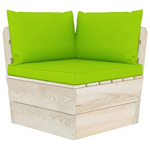 vidaXL Fichtenholz Imprägniert Garten Ecksofa mit Kissen Palettensofa Sofa Palettenmöbel Einzelsofa Sessel Gartensofa Gartensessel Lounge
