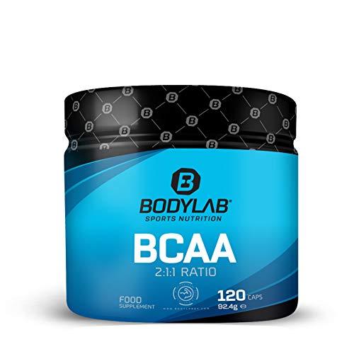 Bodylab BCAA capsules, hooggedoseerde aminozuren voor sport en spieropbouw (L-leucine, L-valine, L-isoleucine in de optimale verhouding 2:1:1) premiumkwaliteit, 120 capsules