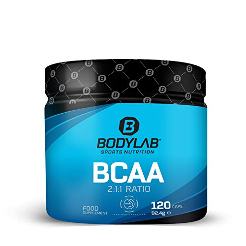 Bodylab24 BCAA 120 Kapseln | Essentielle Aminosäuren hochdosiert | 2:1:1 L-Leucin, L-Isoleucin, L-Valin
