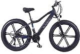 Bicicletas Eléctricas, 26 Pulgadas Bicicletas eléctricas Bici, bicis de la batería ocultado 4.0 de neumáticos Fat Campo de Nieve Adultos de la Bicicleta,Bicicleta (Color : Black)