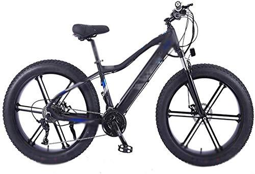 RDJM Bici electrica, 26 Pulgadas Bicicletas eléctricas Bici, bicis de la batería ocultado 4.0 de neumáticos Fat Campo de Nieve Adultos de la Bicicleta (Color : Black)
