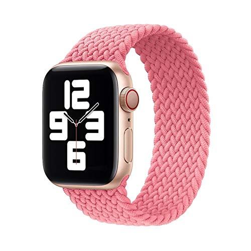 YGGFA Correa trenzada de tela de nailon para Apple Watch 44 mm, 40 mm, 38 mm, 42 mm, 42 mm, correa elástica para iWatch Series 6, SE 5 4 3 (color: 01 rosa perforación, tamaño: L (42 mm-44 mm)
