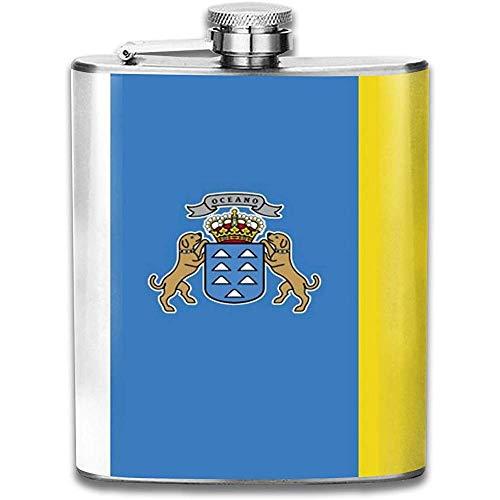 Flagge der Kanarischen Inseln Im Freien Tragbare 304 Edelstahl Auslaufsicher Alkohol Whisky Schnaps Wein 7 Unzen Topf Flachmann Reise Camping Flagon