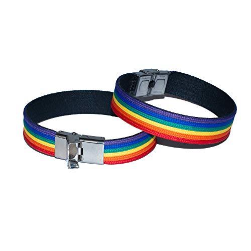 Quickboxx Pulsera Orgullo Gay Lesbiana x2 LGTB Pride de Cuero con Tela Llamativa Colores del Arco Iris Bisexual Transexual