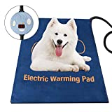 Pet Heating Pad, Upgraded Dog Cat Electric Heating Pad Waterproof Adjustable Warming Mat, Pet Heat Blanket with Chew Resistant Steel Cord