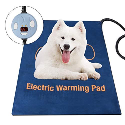 Tapis chauffant pour animal domestique, tapis chauffant électrique pour chien et chat - Étanche et réglable - Avec cordon en acier résistant à la mastication