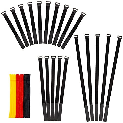 80pcs Organizador de Cables con Velcro Reutilizables Ataduras 15-60cm Cables Tiras finitas...