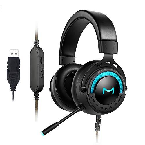 ENEN Casque de Jeu Casque Filaire USB, Microphone de réduction du Bruit de Son Surround 7.1 Faisceau de tête réglable à lumière Froide RVB, Faisceau de tête Anti-Violence, adapté pour PC