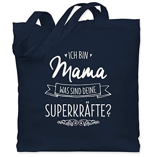 Muttertagsgeschenk - Ich bin Mama - was sind deine Superkräfte - Unisize - Navy Blau - XT600_Jutebeutel_lang - WM101 - Stoffbeutel aus Baumwolle Jutebeutel lange Henkel