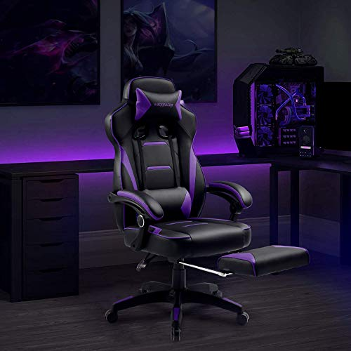 Luckracer Gaming Chair Office Desk Chair with Footrest Pu Leather High Back...