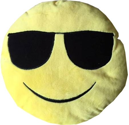 Highliving  Soft Round Smily Emoticon Cushion Pillow Stuffed Plush Toy Doll 32 * 32CM (Sun Glasses)