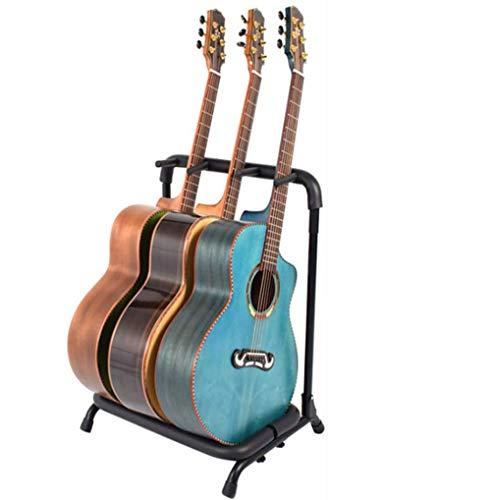 WXJHA Multi Gitarrenständer 3-Halter Folding Organizer Rack-Bühne Bass Acoustic Multi Gitarren-Rack Electric, Bass-Gitarre, Sitar Zubehör Recording Studio/Schule/Familie