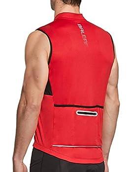 BALEAF Men s Sleeveless Cycling Jersey Road Bike Shirt Bicycle Full Zip Running Tank Tops Pocket SPF Red XL