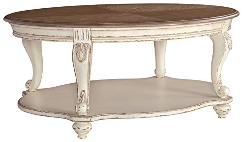 Signature Design by Ashley Realyn Casual Cottage Coffee Table, Antique White & Brown