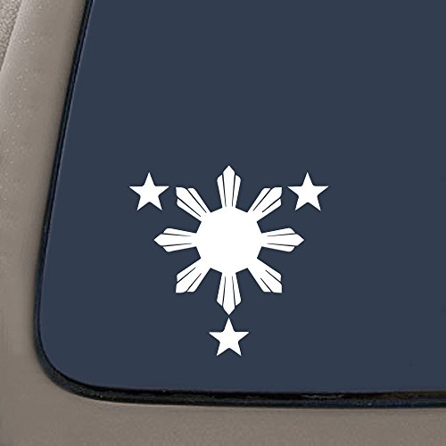 NI168 Philippines Flag 1 Sun and 3 Stars Logo. Filipino Decal/sticker for Car Window, Laptop, Motorcycle, Walls, Mirror and More. (6' Height| White)