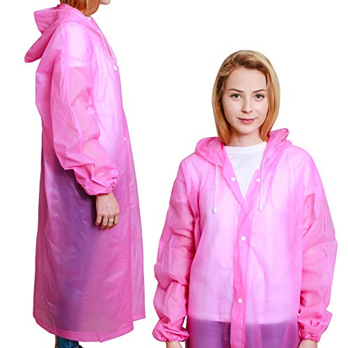 BP TRENDZ Rain Ponchos for Adults 2 Packs, Reusable Rain Jacket Men and Women, Waterproof with Drawstring Hood, Portable Emergency Rain Poncho for Adults – Pink