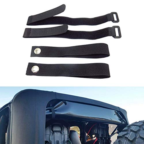4Pcs Rear Window Straps for Jeep Wrangler Jk Jku Soft Top Straps Tiedown Straps Adjustable Straps