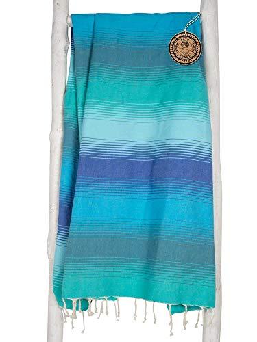 ZusenZomer Fouta XXL Casablanca - 200 x 200 cm- Hammam Badetuch Strandtuch Hamamtuch Groß und Leicht - 100% Hochwertige Baumwolle Hamam Handtücher (200x200cm, Grün und Blau)