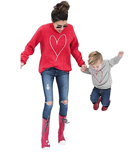 CHRONSTYLE Mama Kinder Partnerlook, Langarmshirt Damen Baby Kleidung Mädchen Sweatshirt Mädchen Hoodie Damen Familien Kleidung Matching Outfits Mother Daughter Mutter Kleid (Mama, S)