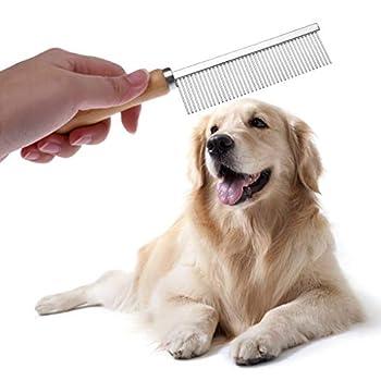 ECMQS Animal De Compagnie Peigne De Chien Peigne à Chat avec Manche en Bois Tondeuse à Cheveux Toilettage Canin Brosse De Nettoyage