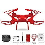 Drone RC Helicopter 2.4Ghz 4-Axis Gyro Quad-Rotorcraft, Waypoint Flight, Toys for Boys and Girls (Red, Drone + 720P Camera)
